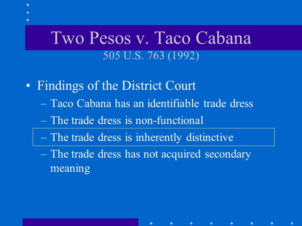 Two Pesos v. Taco Cabana 505 U.S. 763 (1992)