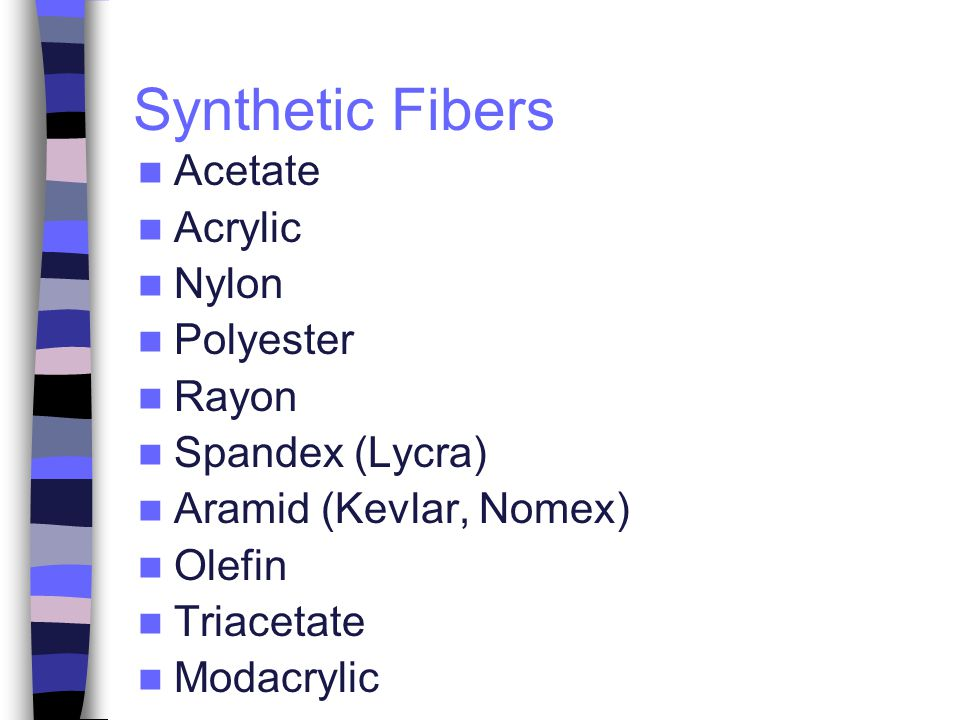 Synthetic Fibers Acetate Acrylic Nylon Polyester Rayon Spandex (Lycra)