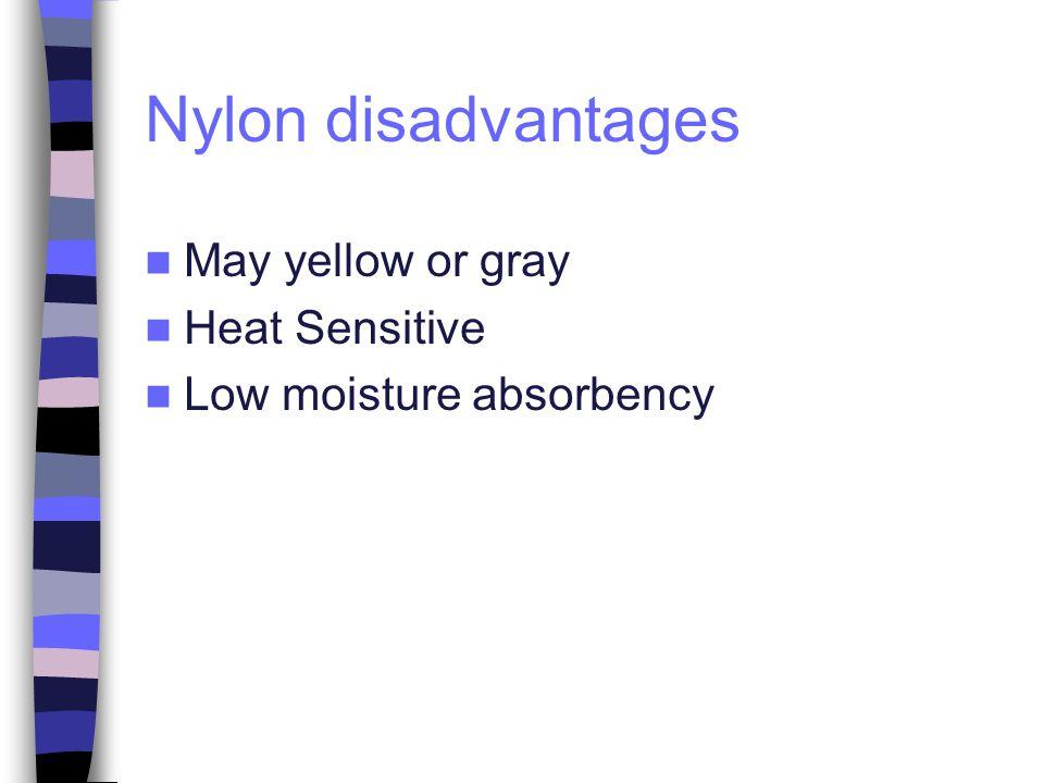 Nylon disadvantages May yellow or gray Heat Sensitive
