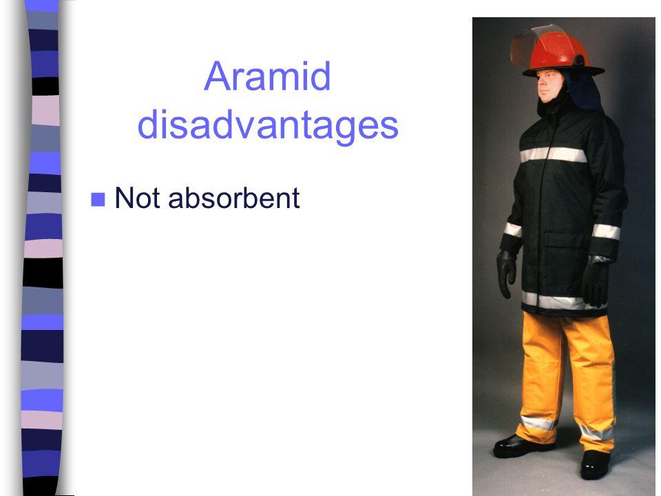 Aramid disadvantages Not absorbent