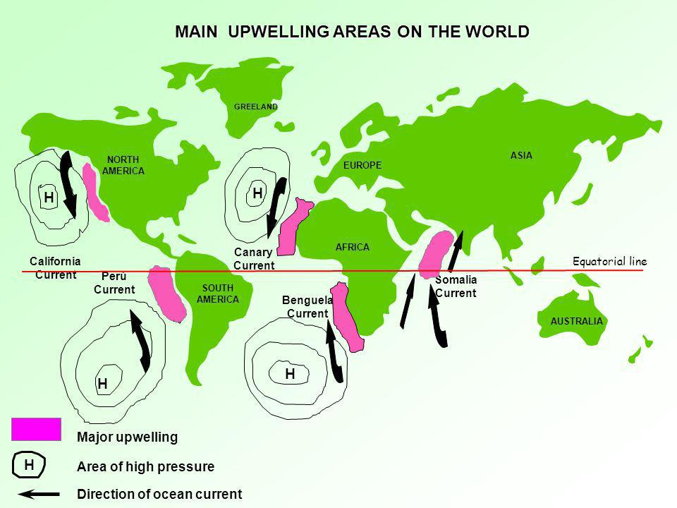 MAIN UPWELLING AREAS ON THE WORLD