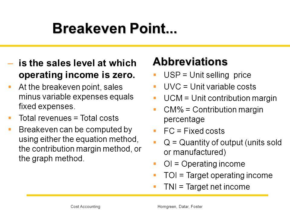 Breakeven Point... Abbreviations