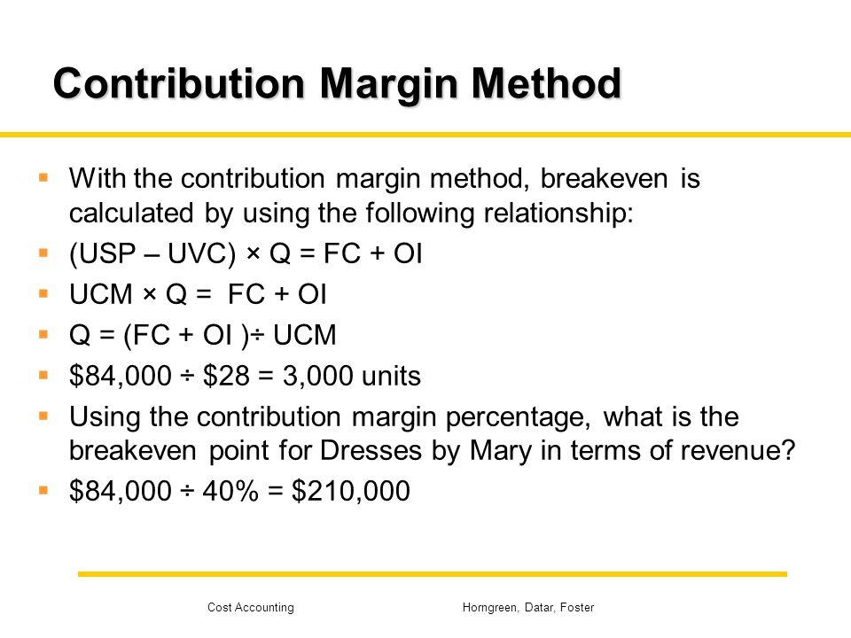 Contribution Margin Method