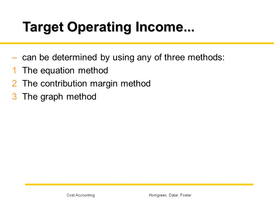 Target Operating Income...