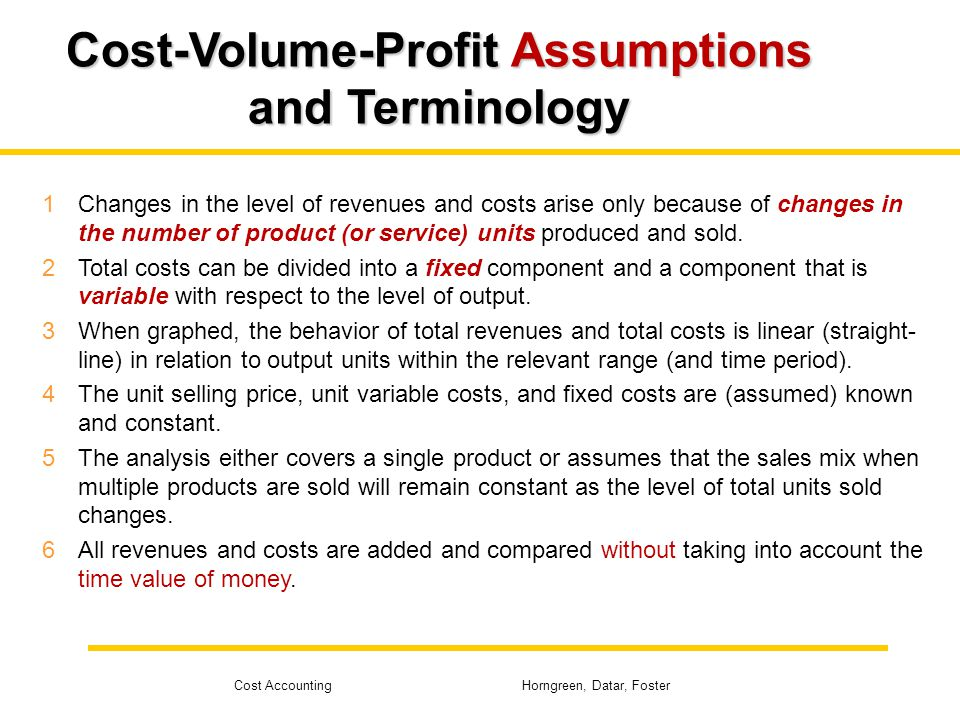 Cost-Volume-Profit Assumptions and Terminology