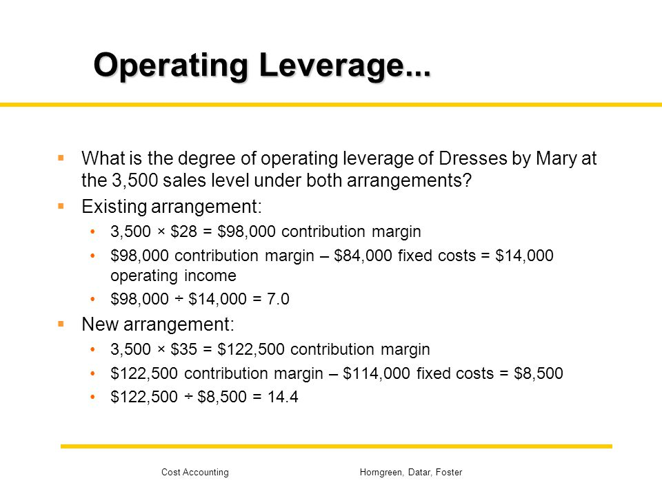 Operating Leverage... What is the degree of operating leverage of Dresses by Mary at the 3,500 sales level under both arrangements