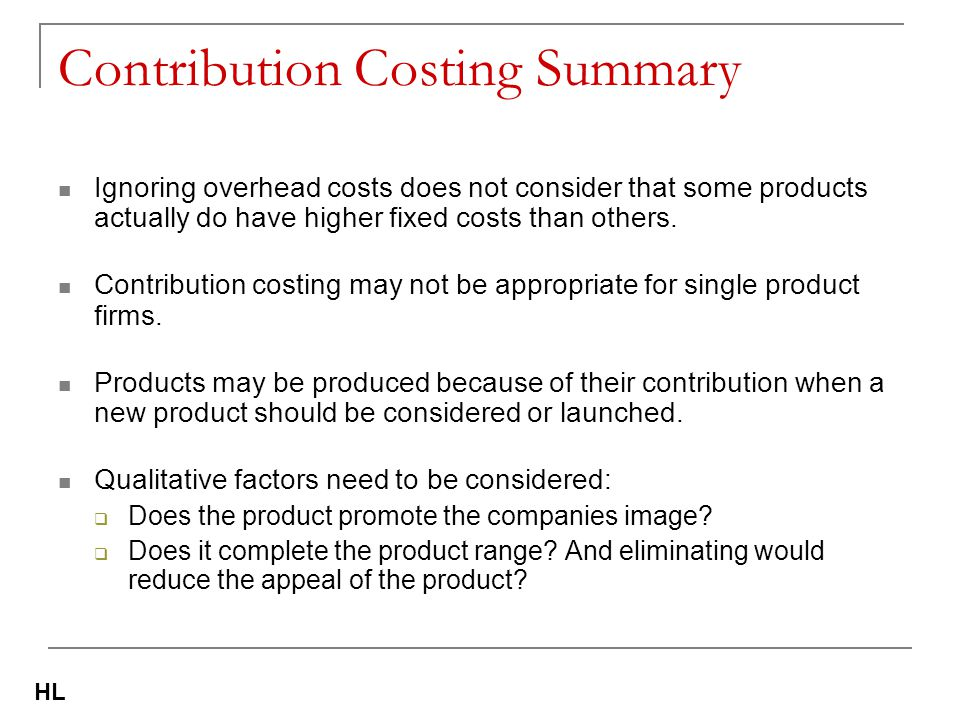 Contribution Costing Summary