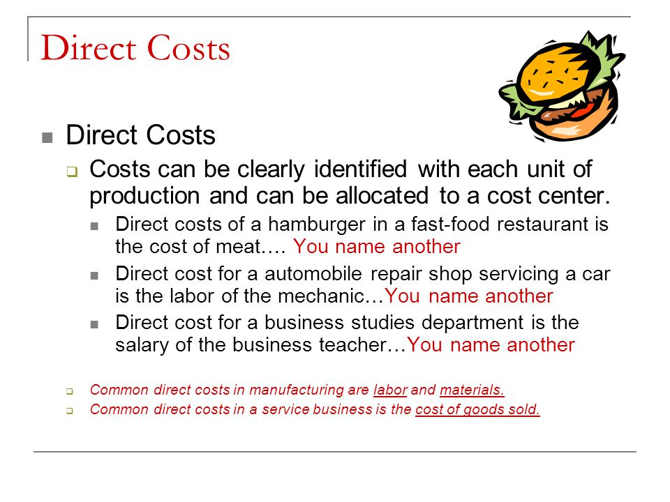 Direct Costs Direct Costs