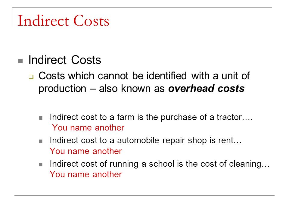 Indirect Costs Indirect Costs