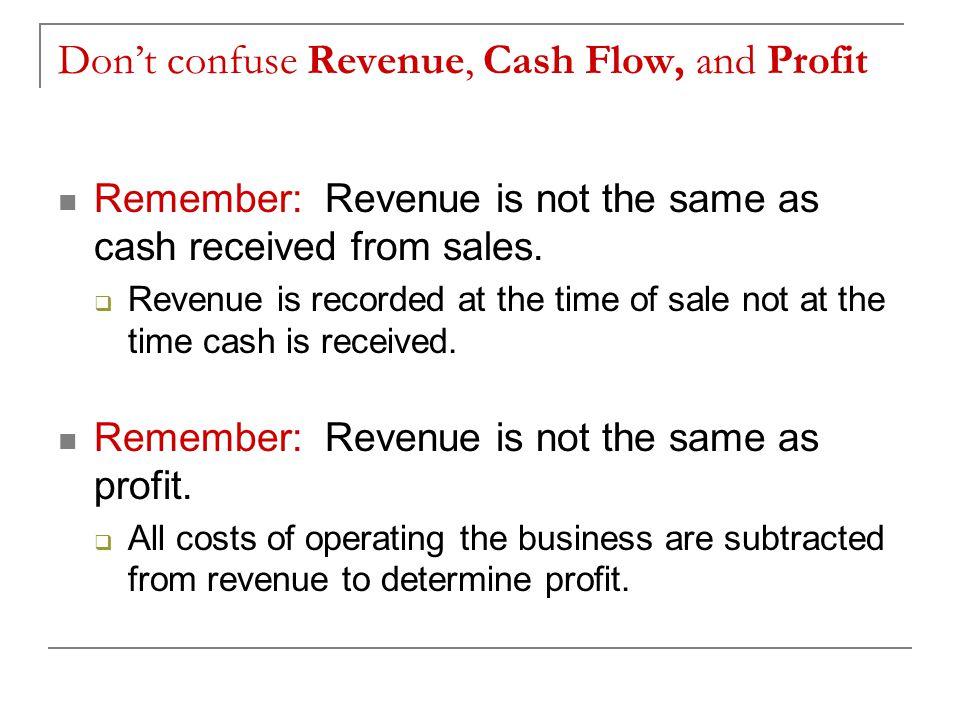 Don't confuse Revenue, Cash Flow, and Profit