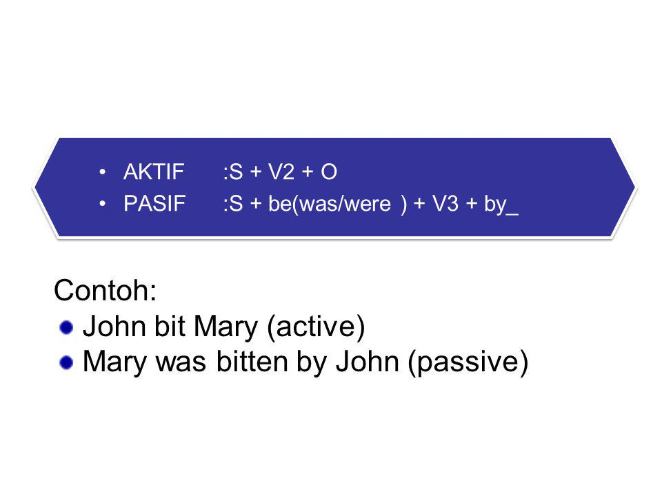 2. PAST FORM Contoh: John bit Mary (active)