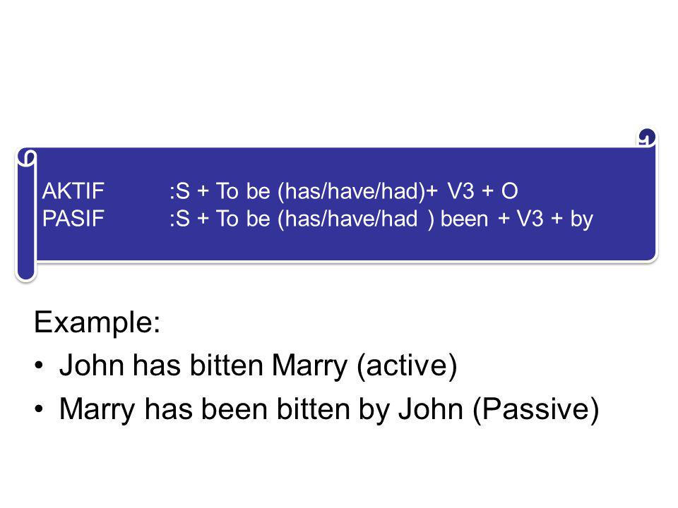 4. PERFECT FORM Example: John has bitten Marry (active)