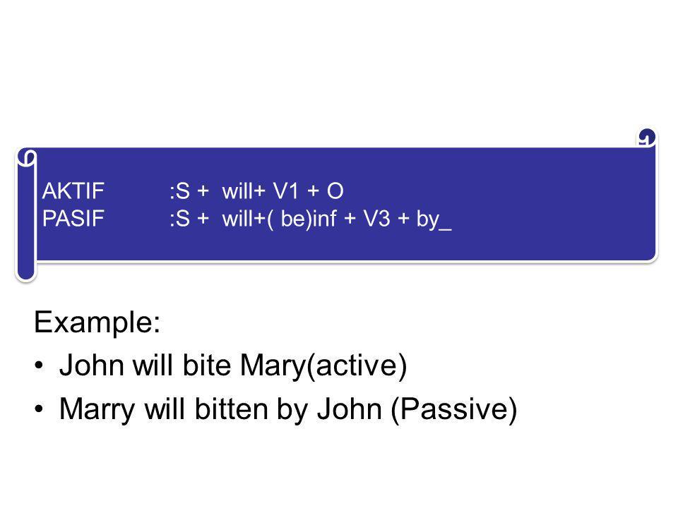 5. FUTURE FORM Example: John will bite Mary(active)