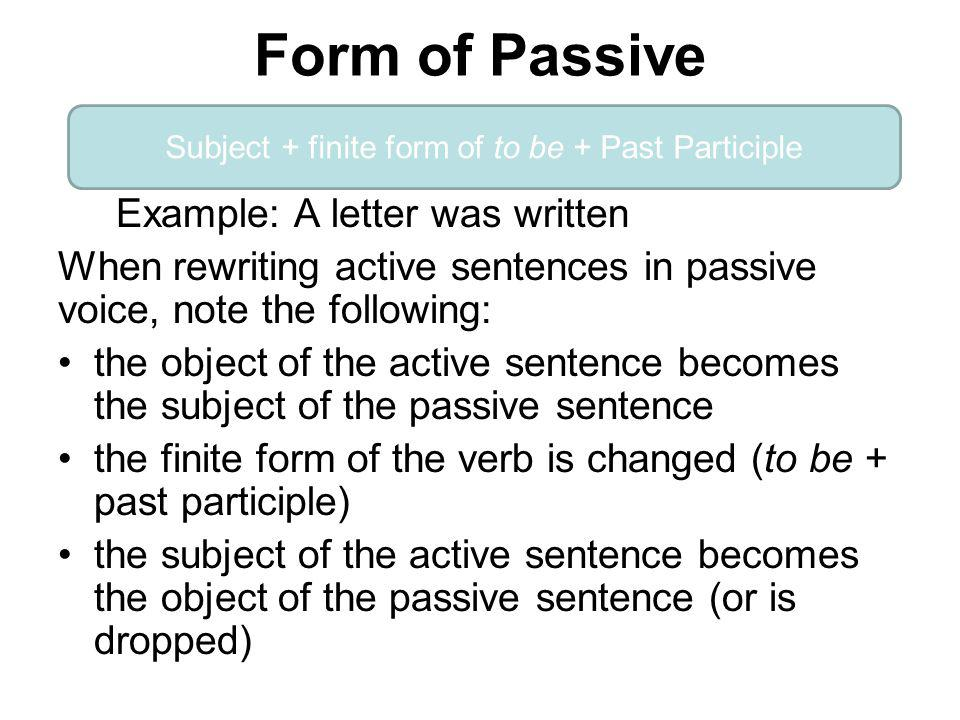 Subject + finite form of to be + Past Participle
