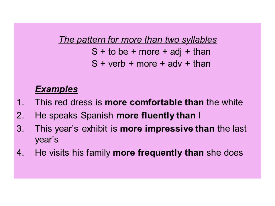The pattern for more than two syllables S + to be + more + adj + than
