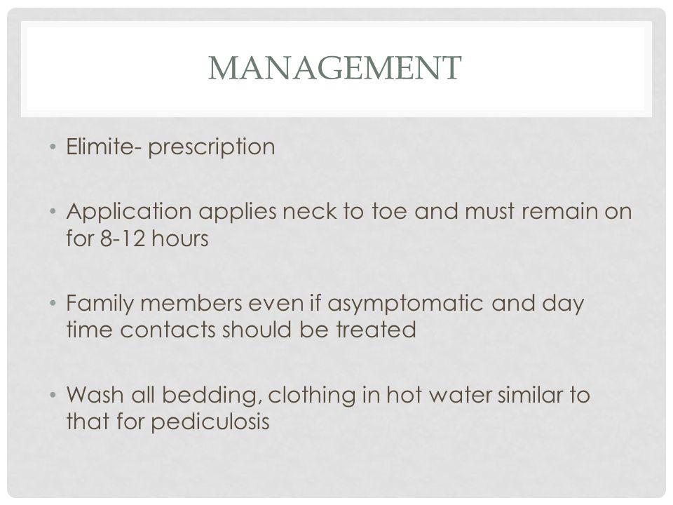 Management Elimite- prescription