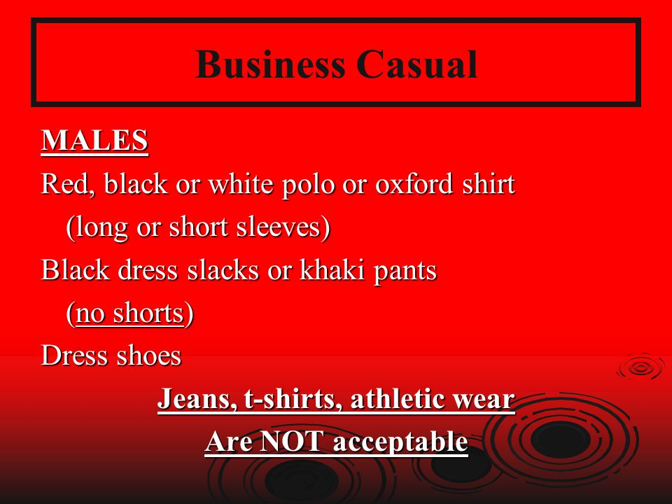 Jeans, t-shirts, athletic wear