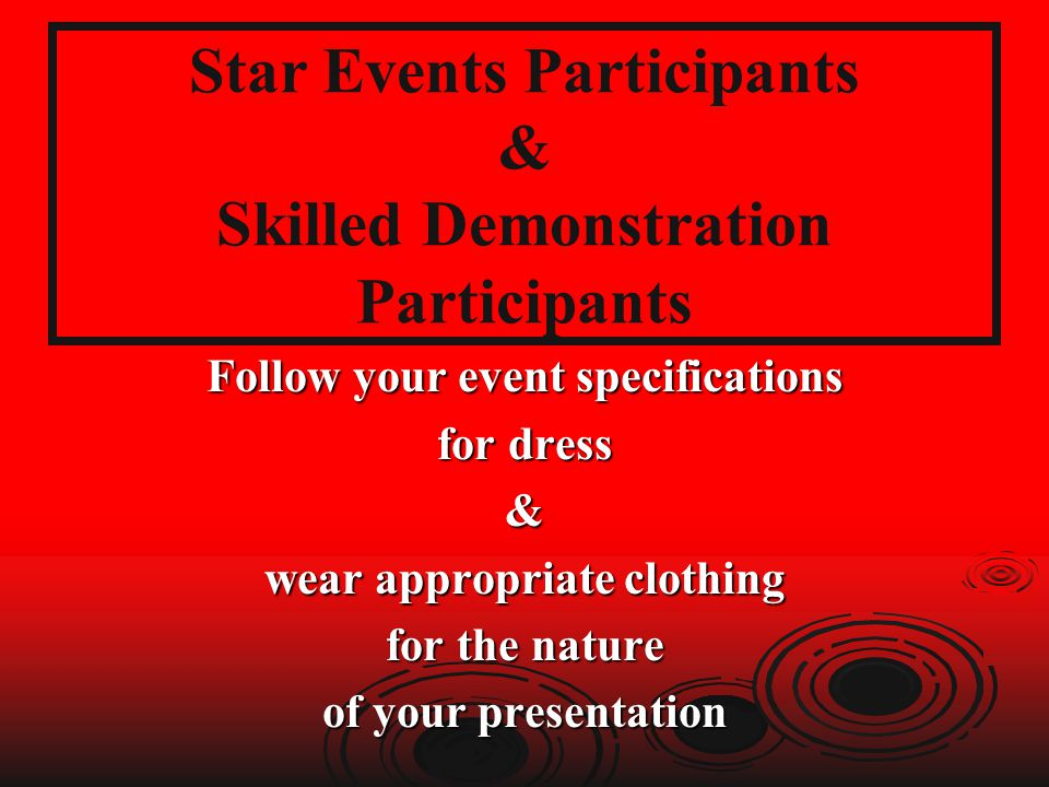 Star Events Participants & Skilled Demonstration Participants