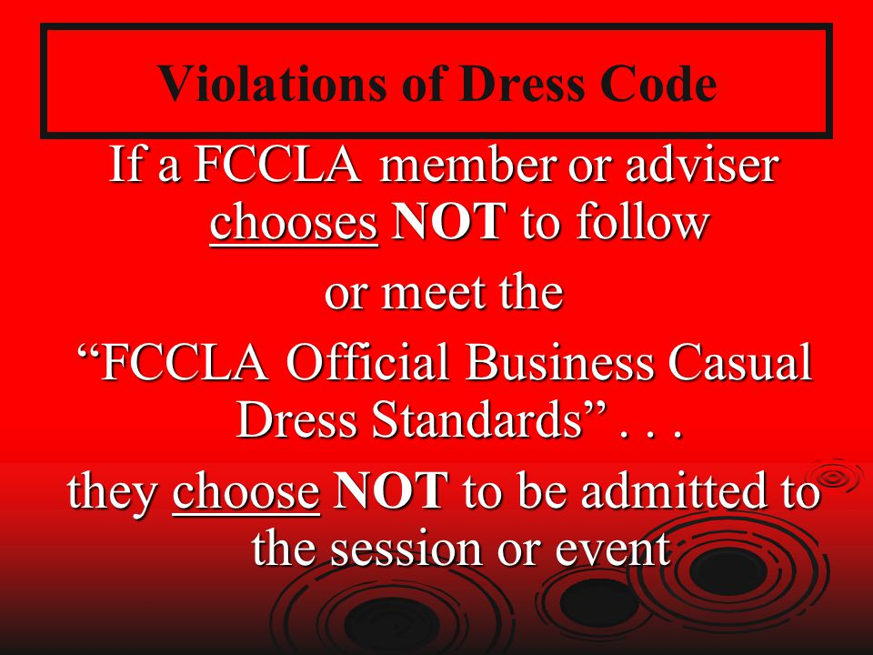 Violations of Dress Code