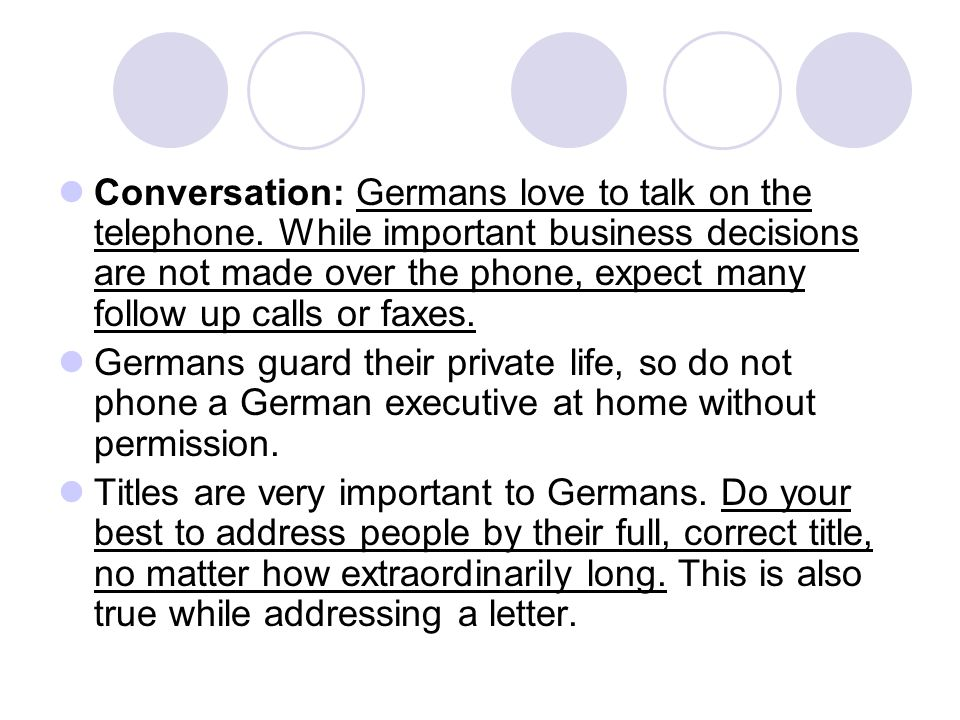Conversation: Germans love to talk on the telephone