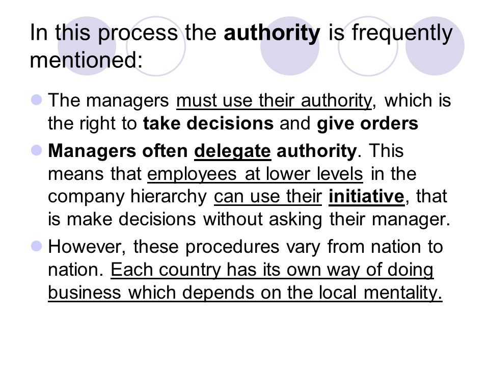 In this process the authority is frequently mentioned: