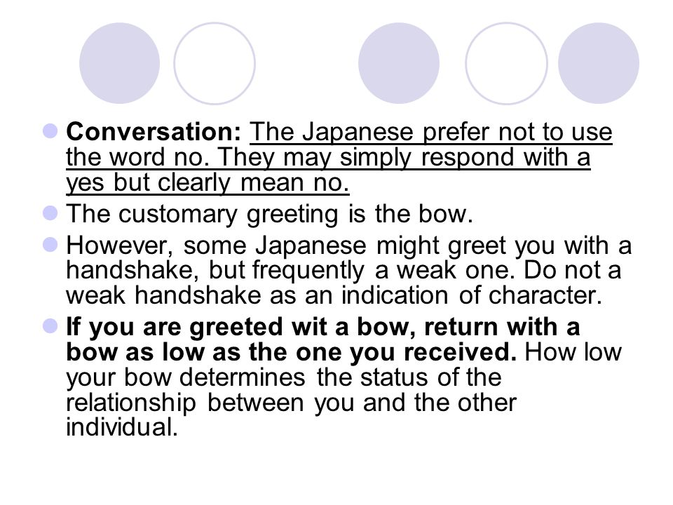 Conversation: The Japanese prefer not to use the word no