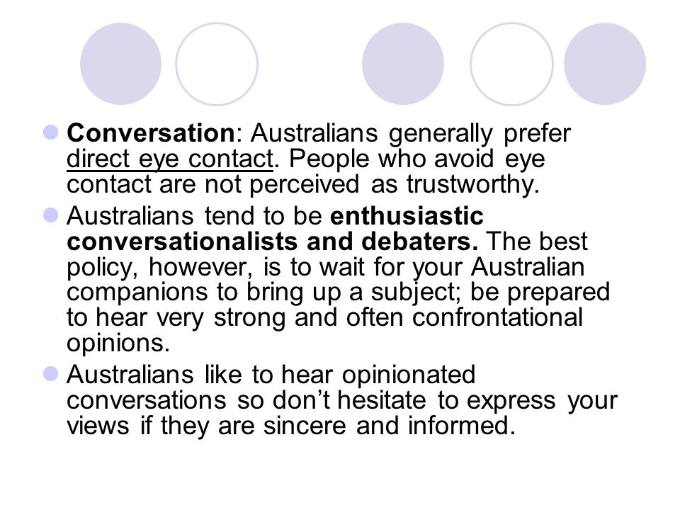 Conversation: Australians generally prefer direct eye contact