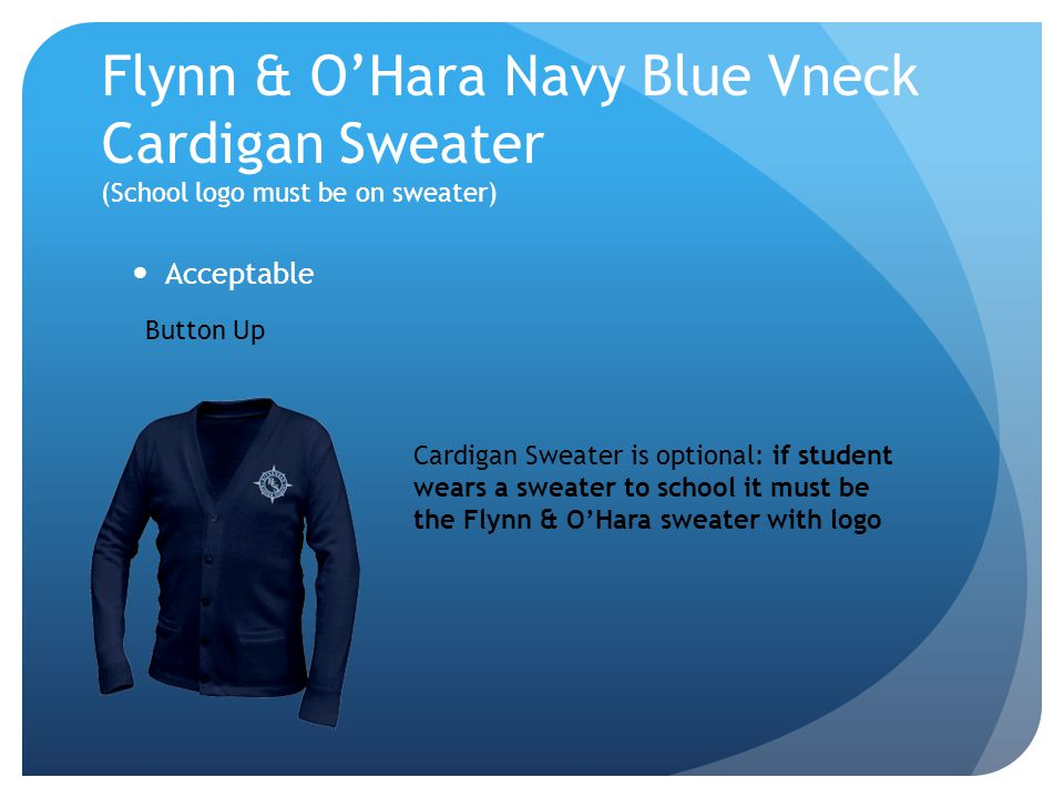 Flynn & O'Hara Navy Blue Vneck Cardigan Sweater (School logo must be on sweater)