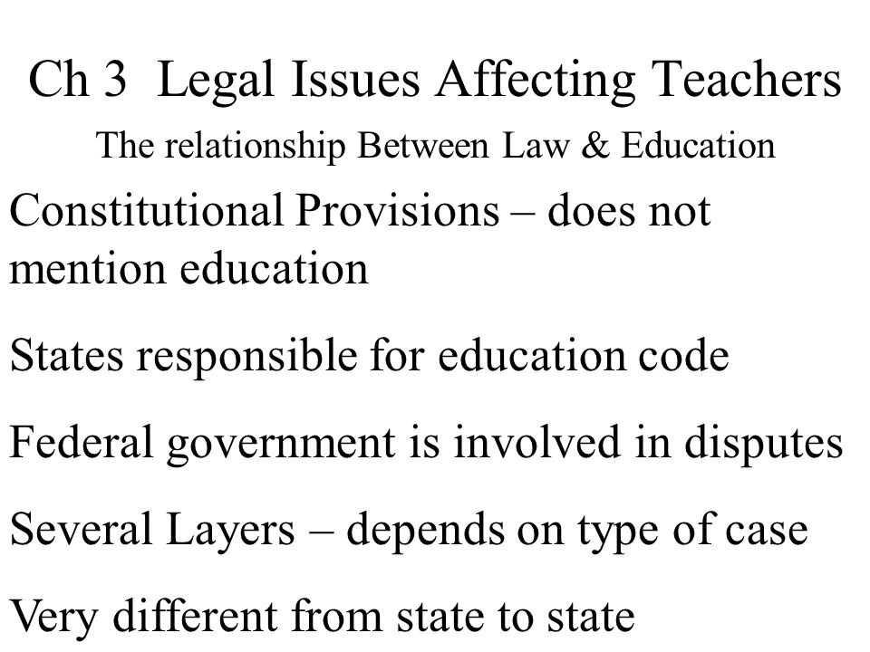Ch 3 Legal Issues Affecting Teachers