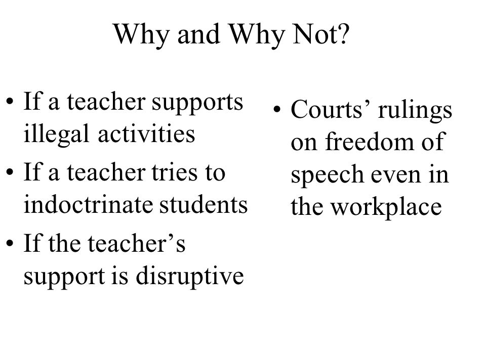 Why and Why Not If a teacher supports illegal activities