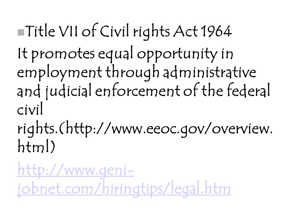Title VII of Civil rights Act 1964