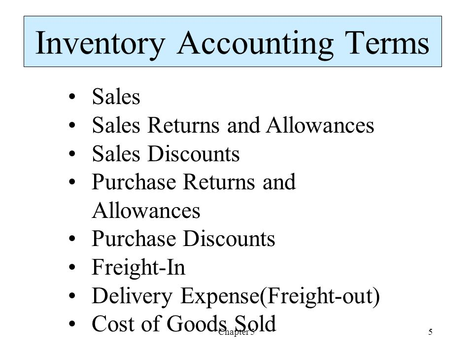 Inventory Accounting Terms