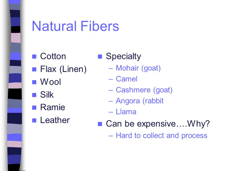 Natural Fibers Cotton Flax (Linen) Wool Silk Ramie Leather Specialty
