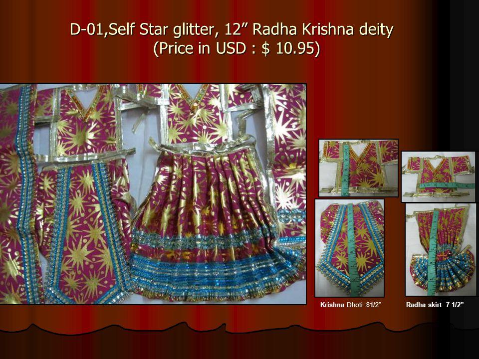 D-01,Self Star glitter, 12 Radha Krishna deity (Price in USD : $ 10