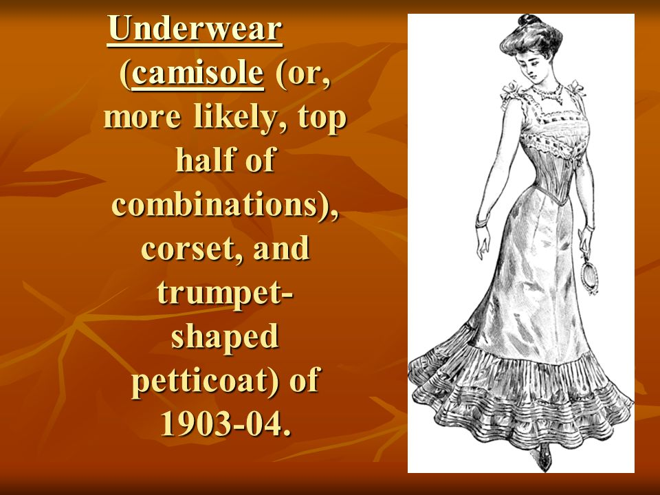 Underwear (camisole (or, more likely, top half of combinations), corset, and trumpet-shaped petticoat) of 1903-04.