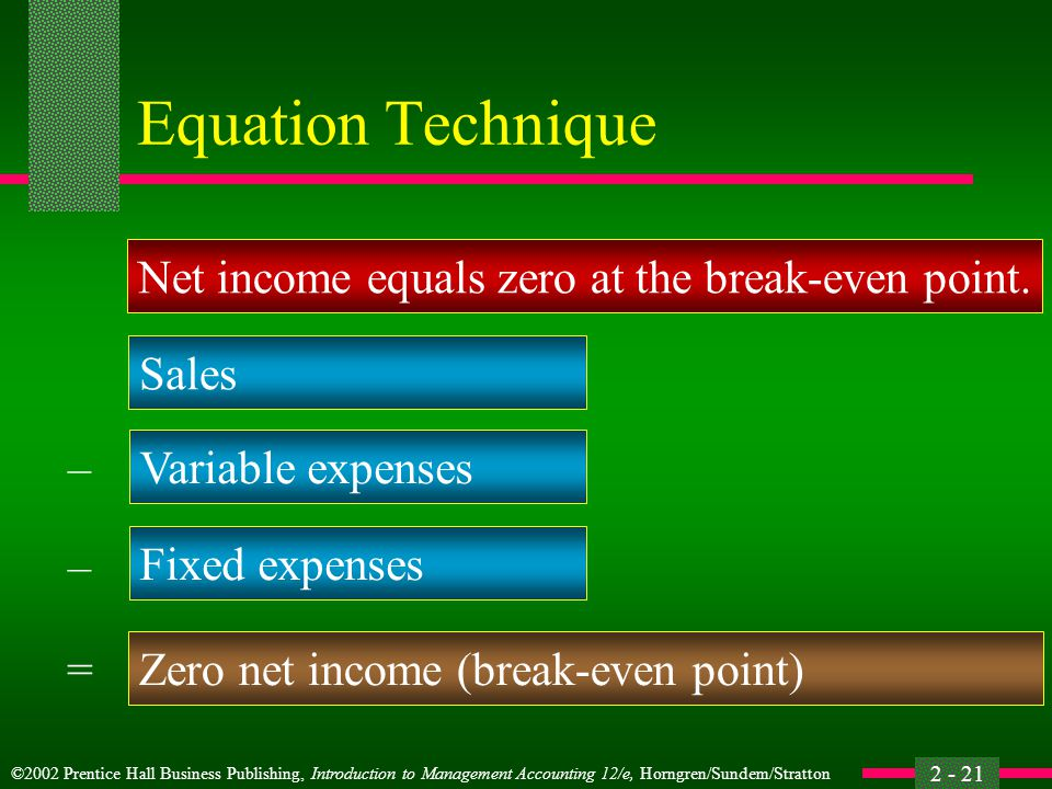 Equation Technique Net income equals zero at the break-even point.