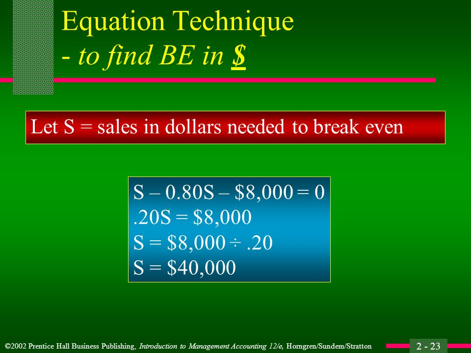 Equation Technique - to find BE in $