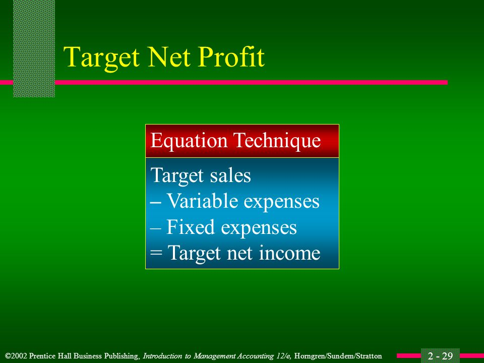 Target Net Profit Equation Technique Target sales – Variable expenses