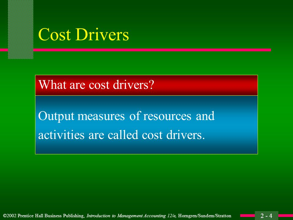 Cost Drivers What are cost drivers Output measures of resources and