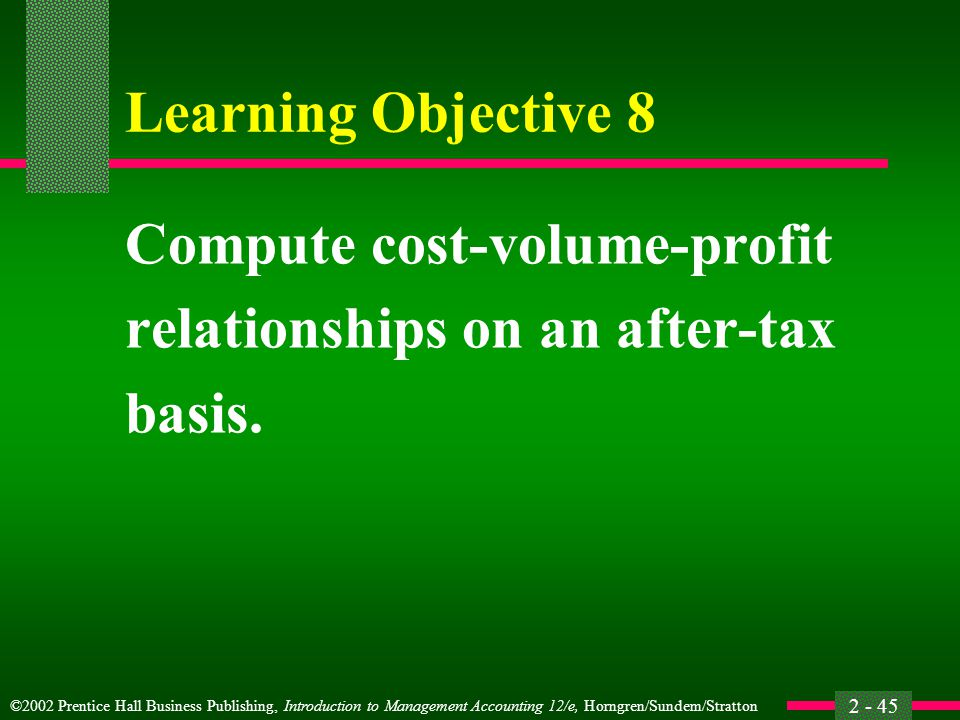 Learning Objective 8 Compute cost-volume-profit relationships on an after-tax basis.
