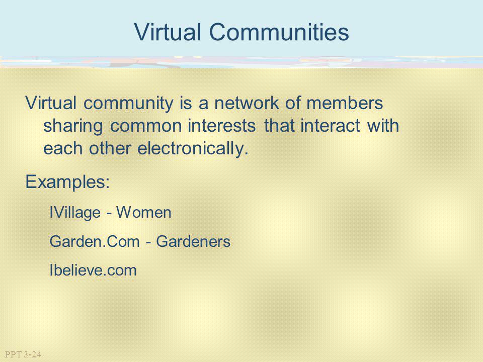 Virtual Communities Virtual community is a network of members sharing common interests that interact with each other electronically.