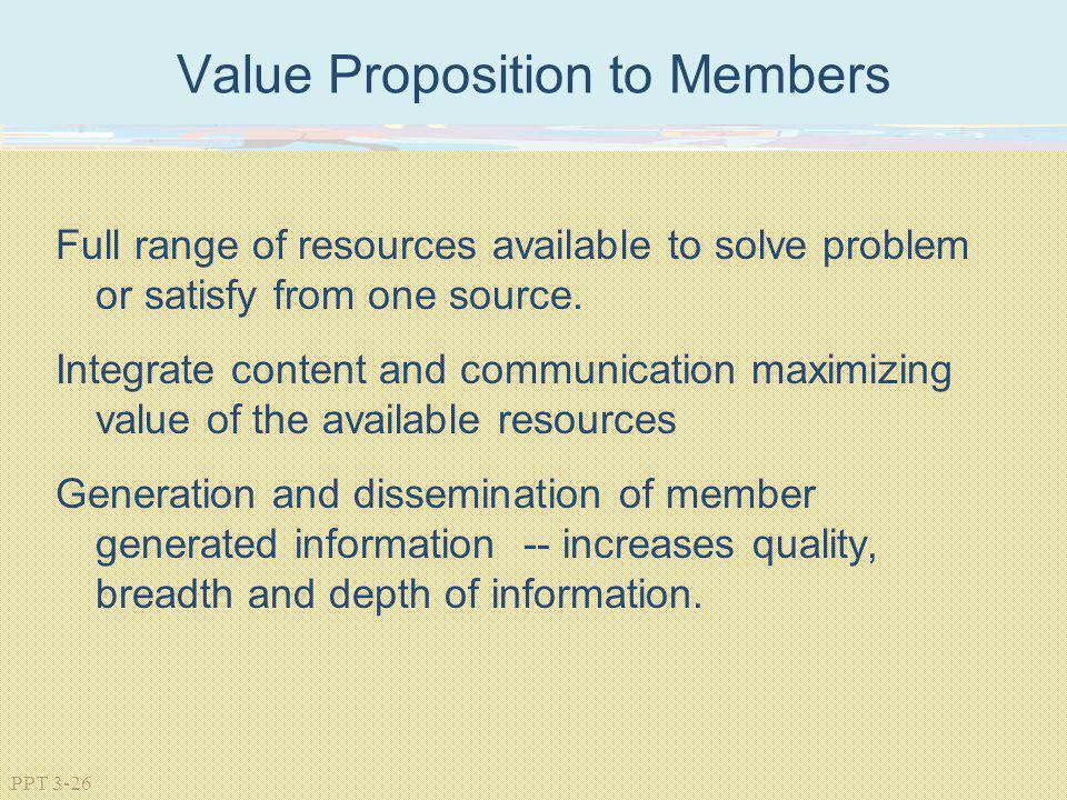 Value Proposition to Members
