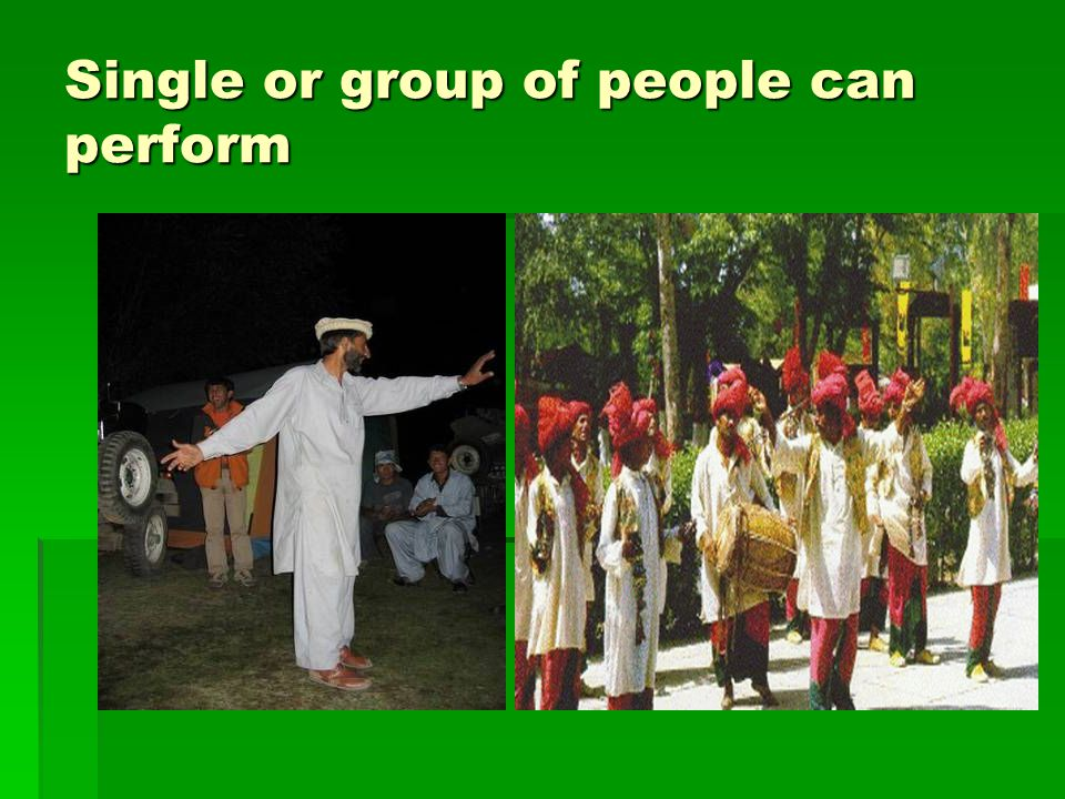 Single or group of people can perform