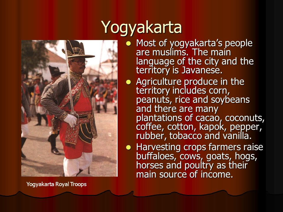 Yogyakarta Most of yogyakarta's people are muslims. The main language of the city and the territory is Javanese.