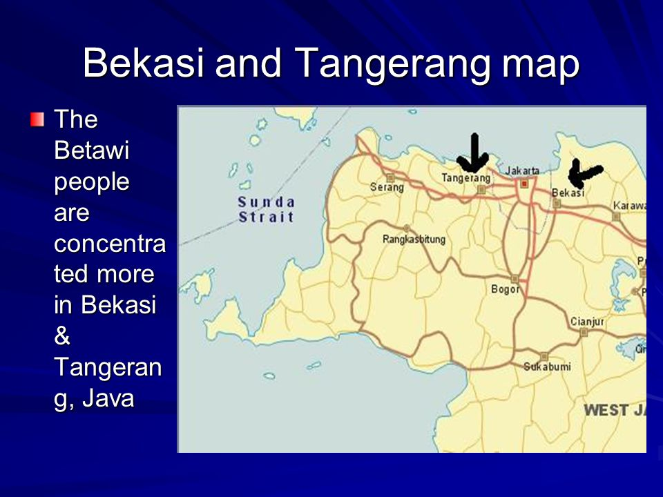 Bekasi and Tangerang map