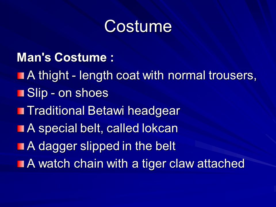 Costume Man s Costume : A thight - length coat with normal trousers,