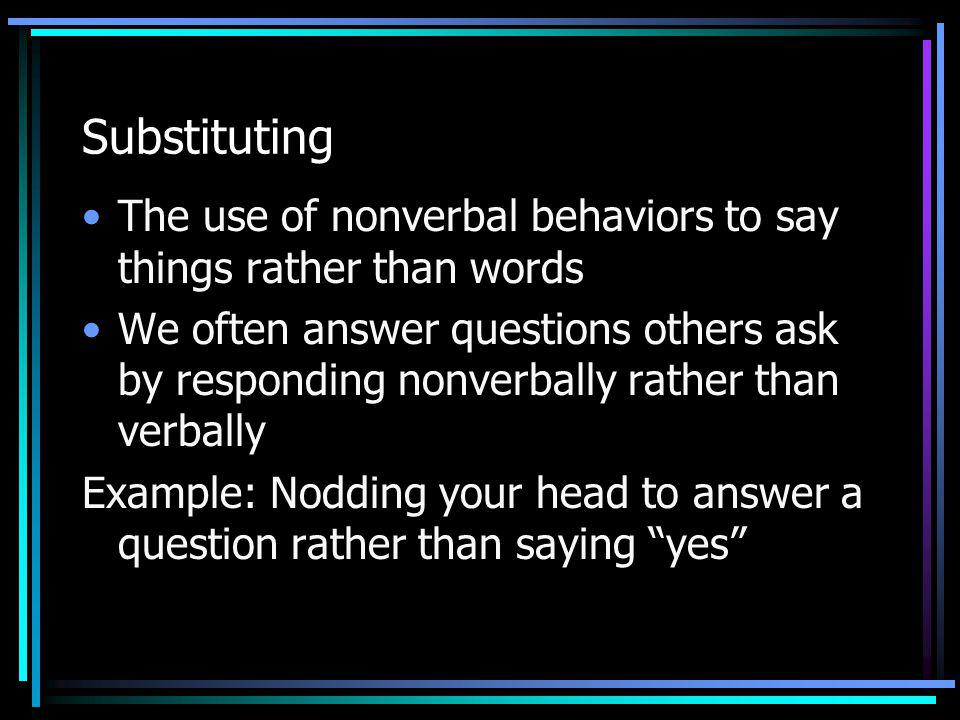 Substituting The use of nonverbal behaviors to say things rather than words.