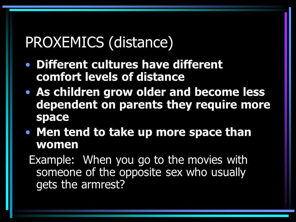 PROXEMICS (distance) Different cultures have different comfort levels of distance.