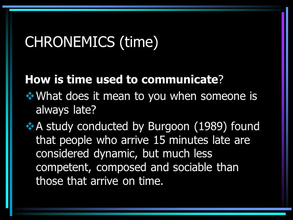 CHRONEMICS (time) How is time used to communicate