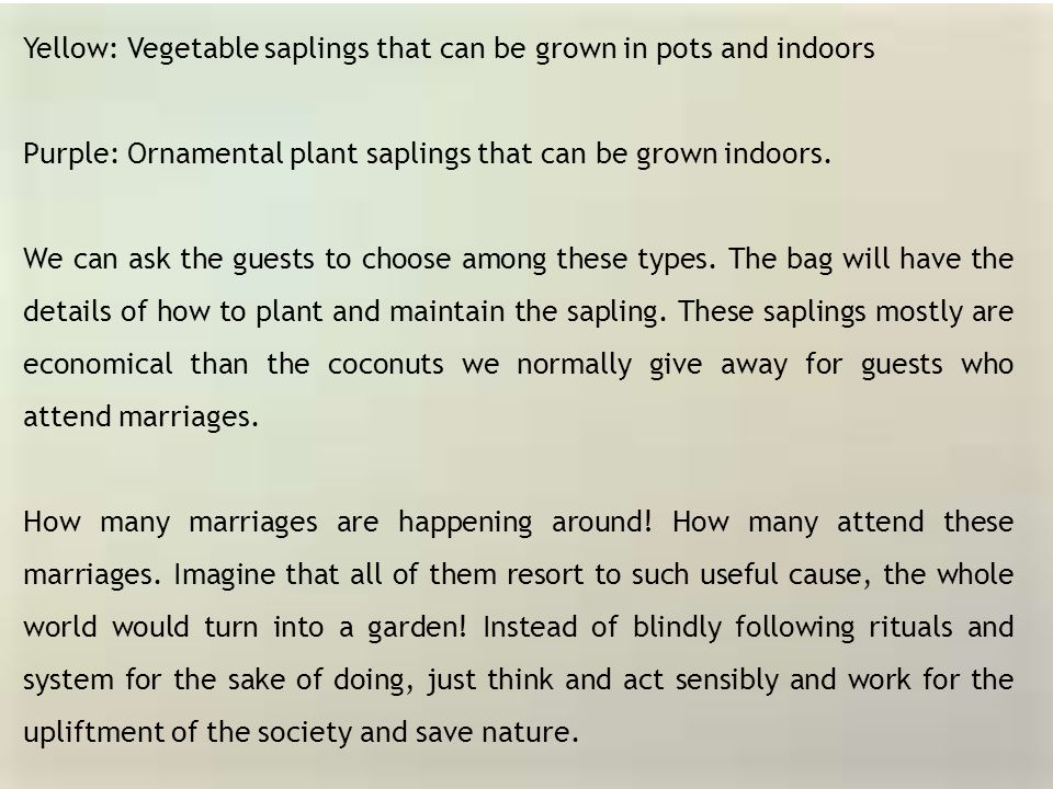 Yellow: Vegetable saplings that can be grown in pots and indoors